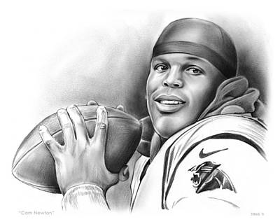 Football Drawing - Cam Newton by Greg Joens