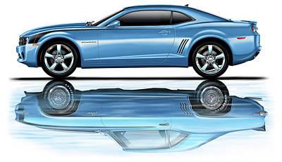 2010 Digital Art - Camaro 2010 Reflects Old Blue by David Kyte