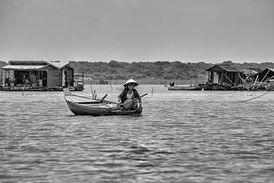 Cambodian Woman In A Boat Print by Georgia Fowler
