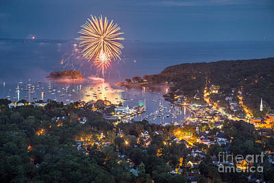 4th July Photograph - Camden Fireworks From Mount Battie by Benjamin Williamson