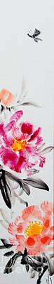 Brush Painting - Camellia And Butterfly by Fumiyo Yoshikawa