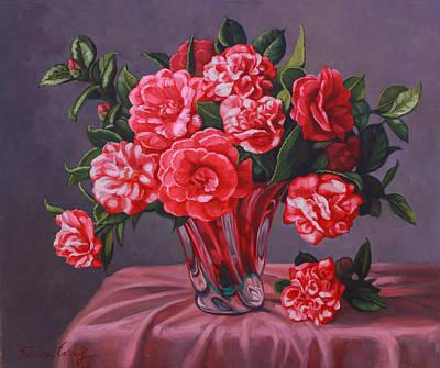 Camellias In Glass Vase Original by Fiona Craig