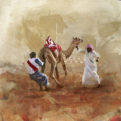 Camels And Desert 20 Print by Mahnoor Shah