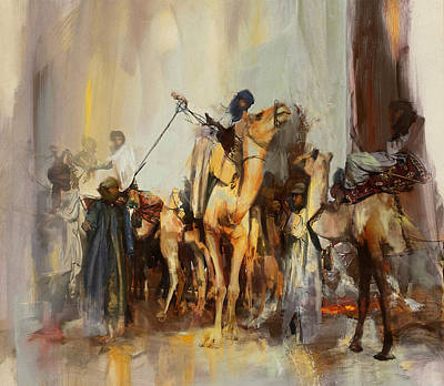 Camels And Desert 21 Print by Mahnoor Shah