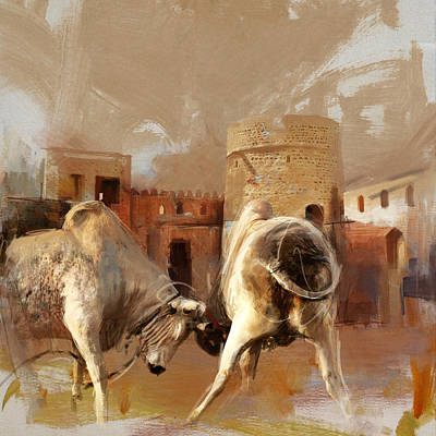 Camels And Desert 22 Print by Mahnoor Shah