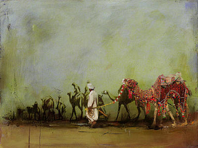 Camels And Desert 3 Print by Mahnoor Shah