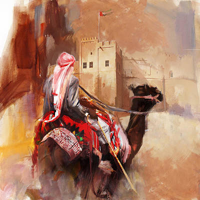 Camels And Desert 32 Print by Mahnoor Shah