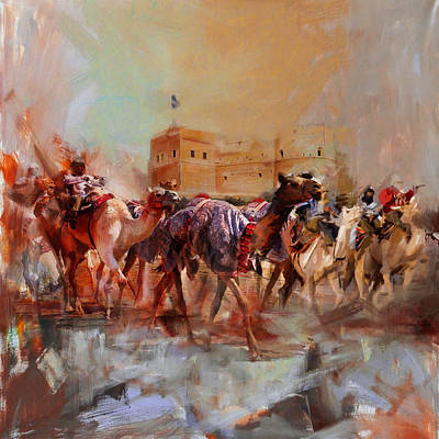 Camels And Desert 37 Print by Mahnoor Shah