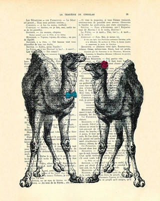 Camels Married Couple Print by Madame Memento
