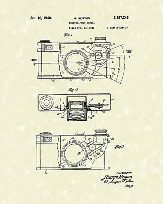 Camera Drawing - Camera 1940 Patent Art by Prior Art Design