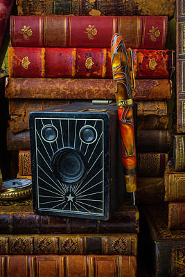 Camera And Old Books Print by Garry Gay