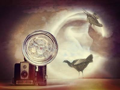Camera Bird Collage Print by Susan Stone