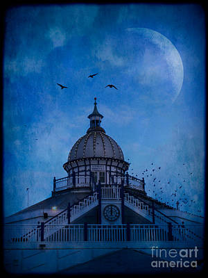 Starlings Digital Art - Camera Obscura - Eastbourne Pier by Ann Garrett