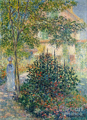 Camille Monet In The Garden At The House In Argenteuil Print by Celestial Images