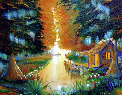 Rustic Painting - Camp At Cypress Bayou by Nicolas Avet