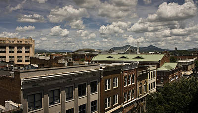 Campbell Avenue Rooftops Roanoke Virginia Print by Teresa Mucha