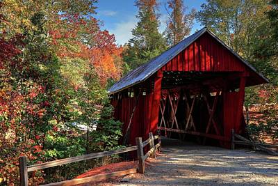 Campbells Covered Bridge Photograph - Campbell Covered Bridge During Fall  by Carol R Montoya