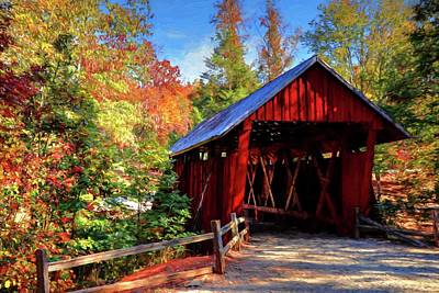Campbells Covered Bridge Photograph - Campbell Covered Bridge During Fall Painted by Carol R Montoya