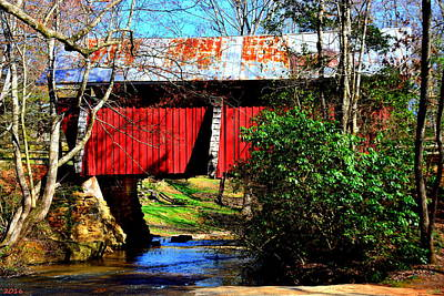 Campbells Covered Bridge Photograph - Campbell's Covered Bridge 1909 by Lisa Wooten