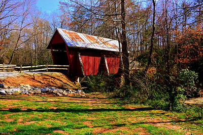 Campbells Covered Bridge Photograph - Campbell's Covered Bridge Est. 1909 by Lisa Wooten