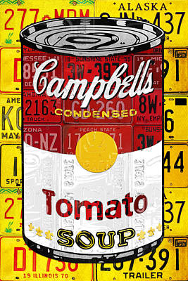 Andy Warhol Mixed Media - Campbells Tomato Soup Can Recycled License Plate Art by Design Turnpike
