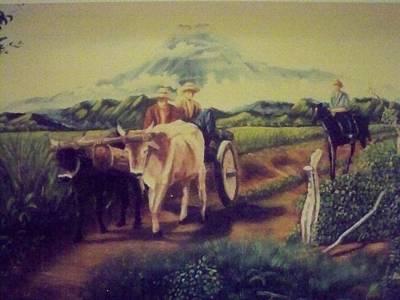Campesinos De Chaparastique Print by Ricardo Santos-alfonso
