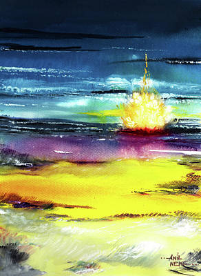 Abstract Beach Landscape Drawing - Campfire by Anil Nene
