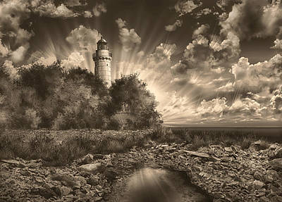 Cana Island Lighthouse Sepia Painting By Bekim Art