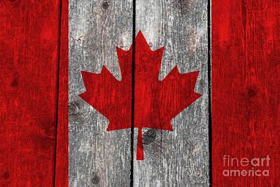 Canadiens Digital Art - Canada Flag On Heavily Textured Woodgrain by Bruce Stanfield