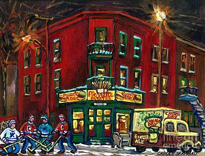 Verdun Landmarks Painting - Canadian Art Verdun Montreal Paintings Night Hockey Pierrette Patates Canada Dry Truck Winter Scene  by Carole Spandau