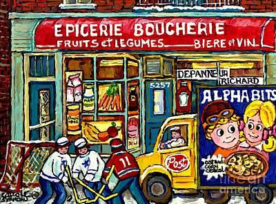 Epicerie Painting - Canadian Hockey Art Winter Scene Painting Depanneur Richard Verdun Delivery Truck Carole Spandau     by Carole Spandau
