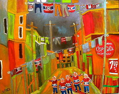 Litvack Naive Painting - Canadiens' Oldtimers On Washday by Michael Litvack