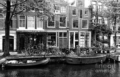 Canal Boats In Amsterdam Mono Print by John Rizzuto