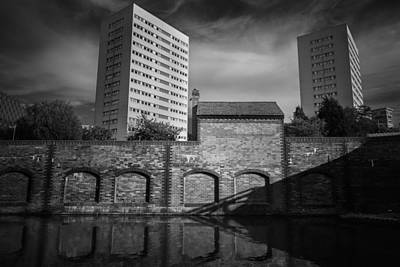 Brick Building Photograph - Canal Living In Mono by Chris Fletcher