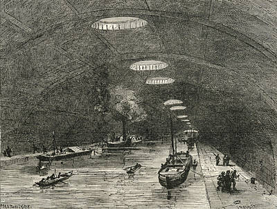 London Tube Drawing - Canal Saint Martin, Paris, France by Vintage Design Pics
