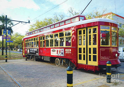 Canal Streetcar - Digital Painting Print by Kathleen K Parker