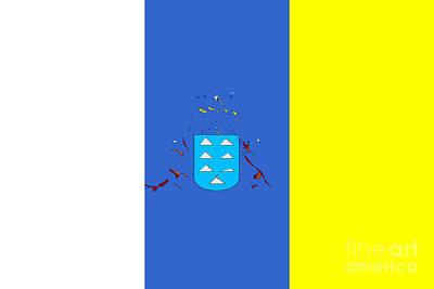 Canary Mixed Media - Canary Islands Flag by Frederick Holiday
