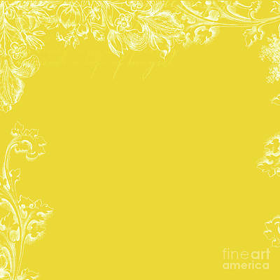 Canary Yellow Floral Print Pattern Print by Anne Kitzman