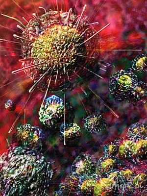 Laboratory Digital Art - Cancer Cells by Russell Kightley