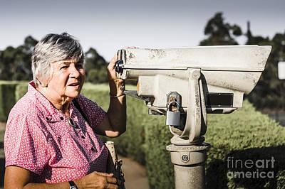 Candid Senior Woman Enjoying A Mountain Top View Print by Jorgo Photography - Wall Art Gallery