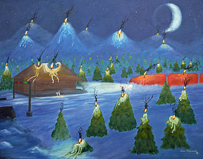 Snow Painting - Candle Mountain Express by Ken Figurski