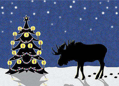 Candlelit Christmas Tree And Moose In The Snow Print by Nancy Mueller
