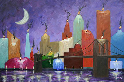 New York City Skyline Painting - Candleopolis by Ken Figurski