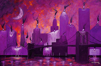 Cityscape Painting - Candleopolis Magenta Kingdom by Ken Figurski