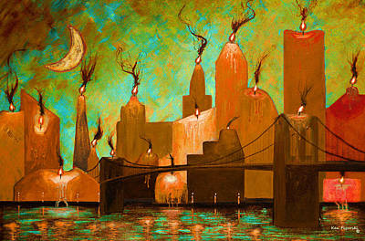 Scary Painting - Candleopolis Autumn Kingdom by Ken Figurski
