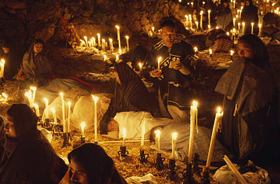 Patzcuaro Photograph - Candles Light A Cemetery Where Indians by W.E. Garrett
