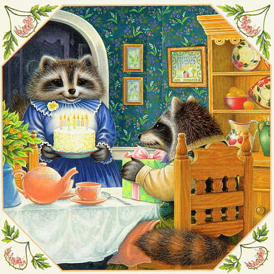 Raccoon Painting - Candles On The Cake by Lynn Bywaters