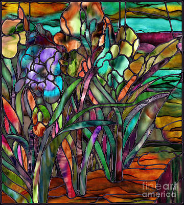 Shards Painting - Candy Coated Irises by Mindy Sommers