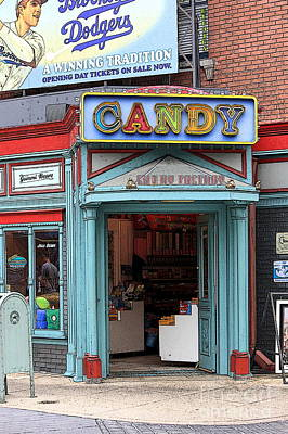 Candy Store Cartoon Print by Sophie Vigneault