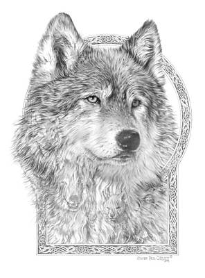 Wolf Drawing - Canis Lupus Iv - Wolf Pack  Alpha Leader by Steven Paul Carlson